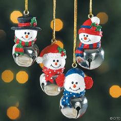 Jingle Bells - Cow Bells - Liberty Bells - Craft Bells - Bells for Crafts Christmas Ornament Crafts, Snowman Crafts, Christmas Bells, Christmas Crafts For Kids, Diy Christmas Ornaments, Christmas Tree Decorations, Holiday Crafts, Snowman Ornaments, Crochet Ornaments