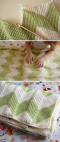 Chevron Baby Blanket With A Straight Edge Free Crochet Pattern.
