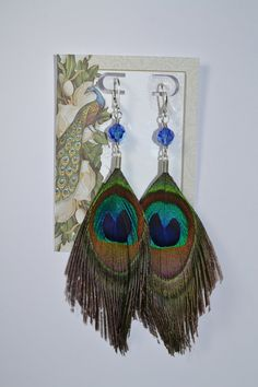 Peacock Feather Trimmed EarrringsSaphire by RomanceinSilverAH, $25.95