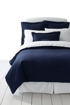 5oz+Velvet+Flannel+Solid+Duvet+Cover+from+Lands'+End 140 inside ties to keep  from shifting white