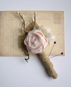 Wedding Boutonniere Groom Groomsmen Blush Pink by TwiningVines, $13.00