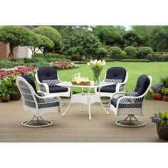 5-piece Patio Wicker Dining Set Outdoor Garden Backyard Furniture Table Cushions #BetterHomesGardens