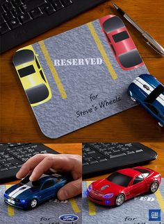 OMG How cool!!! It's a Parking Lot mouse pad that you can personalize for only $12.95 and you can actually get a Blue Ford Mustang® Wireless Mouse to go with it!  PMall has the coolest stuff! #Mouse #Mustang