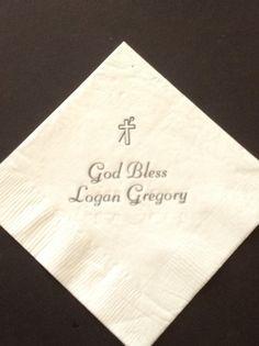 50 personalized Beverage Personalized napkins for baby Christening Baptism napkins by JKimprints, $10.50    http://www.etsy.com/shop/JKimprints