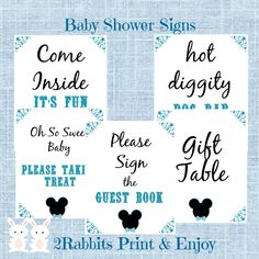 5 Printable #Mickey #Mouse #Baby #Shower Table Signs. The signs include a welcome sign, food table, gift table, goodie bag table and guest book.  Your guests will know where everything is located and they will feel at ease as they are walking around mingling.