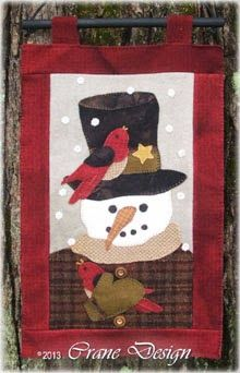 """""""Sammie Snow"""" snowman guy Wool Applique wall hanging. Designed & stitched by Jan Mott of Crane Design. Check out my blog spot to see shops that offer this pattern."""