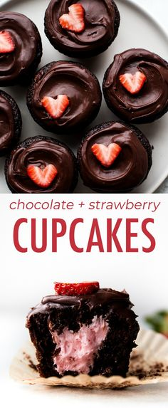 Deliciously indulgent and fudgy chocolate cupcakes filled with strawberry butter. Deliciously indulgent and fudgy chocolate cupcakes filled with strawberry buttercream and topped wi Chocolate Strawberry Cupcakes, Chocolate Cupcakes Filled, Strawberry Buttercream, Chocolate Covered Strawberries, Strawberry Hearts, 12 Cupcakes, Cheesecake Cupcakes, Cupcake Cakes, Icing Cupcakes