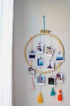 Diy Crafts Love, Cool Paper Crafts, Diy Arts And Crafts, Diy Wall Decor For Bedroom, Cheap Wall Decor, Frame Crafts, Diy Frame, Photo Wall Hanging, Photos Originales