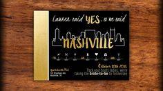 Nashville Bachelorette Party Invitations - Black Gold Glitter Skyline Bachelorette Party - Printed o Bachelorette Party Invitations, Bachelorette Weekend, Bachelorette Ideas, Printable Invitations, Custom Invitations, Black Gold Party, Bridesmaid Duties, Black Gold Jewelry, Print Packaging