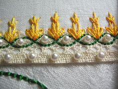 Embroidery on lace - lovely blog