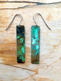 """iselin Design's """"Northern Lights"""" : metal patina earrings. find on Etsy."""