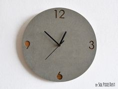 Concrete and Wood Circle Wall Clock  - Modern Wall Clock