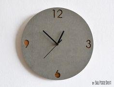 Concrete and Wood Circle Wall Clock - Modern Wall Clock
