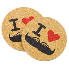 I Heart Moustaches Screen Printed Coaster x 4 £8.00