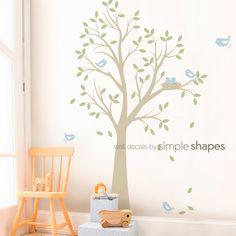 LA ORIGINAL árbol con pájaros y nido calcomanía - vinilo pared Decal Set infantiles