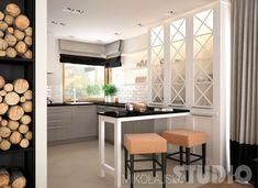 Jasna kuchnia w stylu nowojorskim #biała kuchnia #styl nowojorski #wnętrze z cegłą