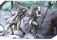Second request,sorry to be a little late with this one! Requested by the lovely caveofclaeya, with Solas and Lavellan fighting back to back. Hope you guys enjoy!