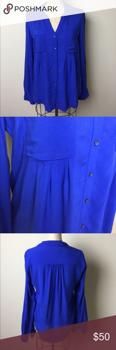 Anthropologie button front pleat front shirt Fabulous royal blue color. Button front. 2 front pockets. Pleating under pockets for additional fullness 100% rayon. Maeve for Anthropologie Anthropologie Tops Button Down Shirts
