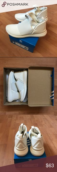 ADIDAS ORIGINALS WOMEN TUBULAR DEFIANT T W  BB4234 All white mesh upper with black elastic strap  Constructed white synthetic leather heel cap White pull tabs on heel and tongue with Adidas branding stamped in black White Tubular EVA midsole BRAND NEW WITH ORIGINAL BOX Adidas Shoes Sneakers
