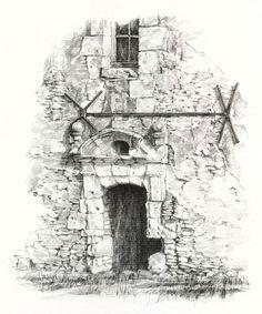 Verrue, Vienne, France sketched by Linda Vanysacker Ven der Mooten