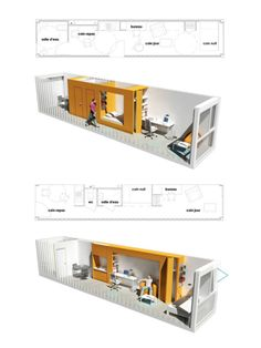 "darwinspark:   Le havre University goes for student container housing  CROU is a project of students' housing for the city of Havre fruit of the imagination of Olgga Architectes, is to use maritime containers to make apartments by piling blocks.  ""A way to tackle rising student housing costs and shortage for big cities .""  By Olgga Architectes  Two pretty good floorplans for a shipping container home in a 40ft container."