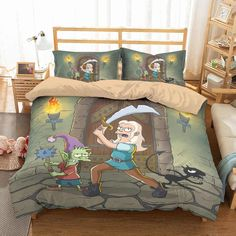 Customize Disenchantment Bedding Set Duvet Cover Set Bedroom Set Be Rustic Bedding, Linen Bedding, Bedding Sets, Bed Covers, Duvet Cover Sets, Creative Beds, Cozy Bed, California King, Bedroom Sets