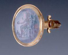Gold Finger Ring Set with Translucent Engraved Gemstone, Ancient Greece.