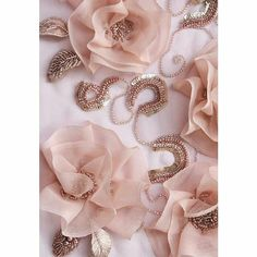 lovely detail of hand wk bead & silk organza flower dress embellishments