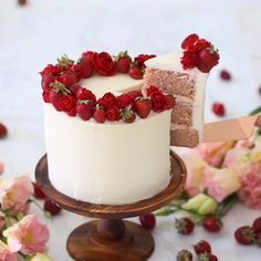How to make a Strawberry Cake cake decorating ideas food tv asmr food cake tutor. Cake Decorating Videos, Cake Decorating Techniques, Decorating Ideas, Mini Cakes, Cupcake Cakes, Macaron Cake, Cake Fondant, Fruit Cakes, Strawberry Cakes