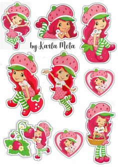 Topo moranguinho Baby Girl Birthday Decorations, Strawberry Crafts, Strawberry Shortcake Characters, Kawaii Cross Stitch, Strawberry Shortcake Birthday, Printable Crafts, Floral Border, Baby Party, Craft Fairs