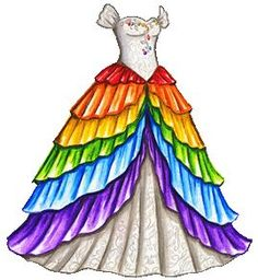 White Princess Dress with Rainbow Skirt Rainbow Dash, Rainbow Colors, White Princess Dress, Princess Gowns, Princess Luna, Rainbow Wedding Dress, Rainbow Outfit, Dress Drawing, White Gowns