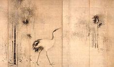 Hasegawa Tohaku- Cranes and Bamboo- 1539-1610- Ink on paper