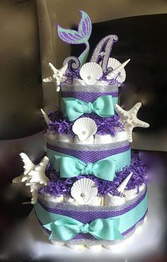 diaper cake - For lots of people, should you care a little more about where you're getting the baby shower than who seems to be attending it, although. Baby Shower Diapers, Baby Shower Fun, Baby Shower Cakes, Baby Shower Themes, Baby Shower Gifts, Mermaid Baby Shower Decorations, Mermaid Baby Showers, Mermaid Babyshower Ideas, Babyshower Themes For Girls
