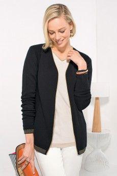 5d549b125652 Cardigan femme chic noir Laine Cashwool® et Lurex or - Collection  Printemps-Ete 2015