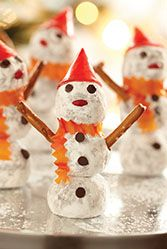 Made with chocolate chips and powdered sugar, these Snowman Truffles are festive, delicious, and perfect for your holiday party! #SweetenTheSeason