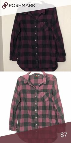 fe66bdc431 Flannel plaid button down Purple and black buffalo print flannel button  down shirt. Used but