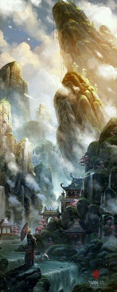 Wow. This is an #epic #mystic #China/#Japan #illustration. Wonderful #fantasyart, don't you think?