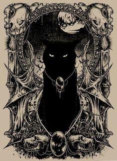 black cat drawing - black cat + black cat tattoo + black cat art + black cat aesthetic + black cat marvel + black cat drawing + black cat wallpaper + black cat names Arte Obscura, Witch Art, Gothic Art, Cat Tattoo, Halloween Art, Dark Art, Art Inspo, Fantasy Art, Cool Art