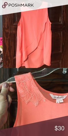 Coral BCBG tank High-low coral tank. Lace details on shoulder BCBGeneration Tops Tank Tops