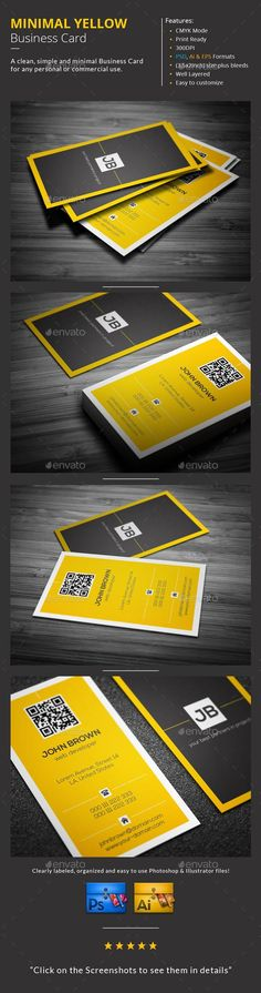 Minimal Yellow Business Card  #template #creative #business