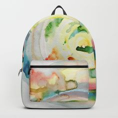 Miami Beach Watercolor #4 Backpacks by ANoelleJay | Society6 Fabulous and bright by @anoellejay @society6 back to school solutions