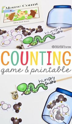 "Counting game and free printable you need for your class! Being able to incorporate read-aloud books with your lesson is a great way to teach kids. This fun mouse counting mini-lesson is a great engaging activity to go along with the book ""Mouse Count"". The students feed their hungry snakes while counting to ten and back down to one! This is a great, interactive activity to help little ones with counting practice! #math #game #free #printable #learning #teaching"