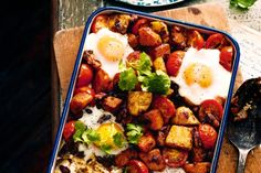 Smoky root vegie hash with eggs and beans #vegetarian #recipes