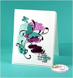 handmade card: WorkOfArtThxBlue by Sandi MacIver ... striking mod look ... triple stamp-off technique gets three colors from one inking ...  stamped watercolor washes ... Iuv ti! ...Stampin'Up!