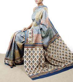 Multicoloured Tussar Silk Saree with Kantha Work: Weavers Studio