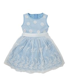 Blue Floral Mesh Dress