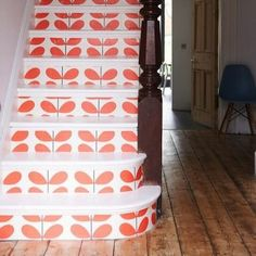 wallpaper on the stair risers