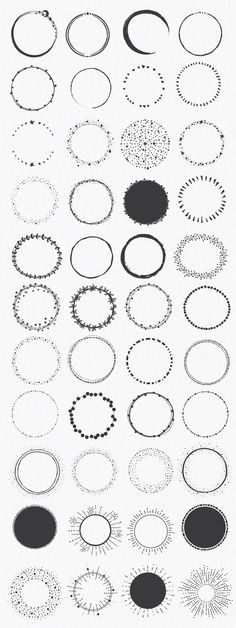 Hand Drawn Circle Shapes by lunalexx on Creative Market - Kalender 2018 - Circle Tattoos, Body Art Tattoos, Hand Tattoos, Small Tattoos, Circle Logos, Tattoo Drawings, Tatoos, Art Drawings, Circle Shape