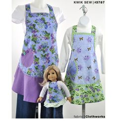 """Gift idea to sew for moms and daughters: Matching aprons by Kwik Sew, including 18"""" doll pattern. K3787, Misses', Girls' & Dolls' Aprons"""
