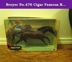 Breyer No.476 Cigar Famous Race Horse. Cigar, the legendary racehorse, muscled his way into the record books and captured the hearts of everyone who watched him. Extended in full stride, reaching toward the finish line, every muscle in this bay Thoroughbred stallions body has been captured by sculptor Susan Carton Sifton in this breathtaking mold. Ages 8+ Traditional-sized Measure approx. 9 inches high and 12 inches long 476 Reeves.